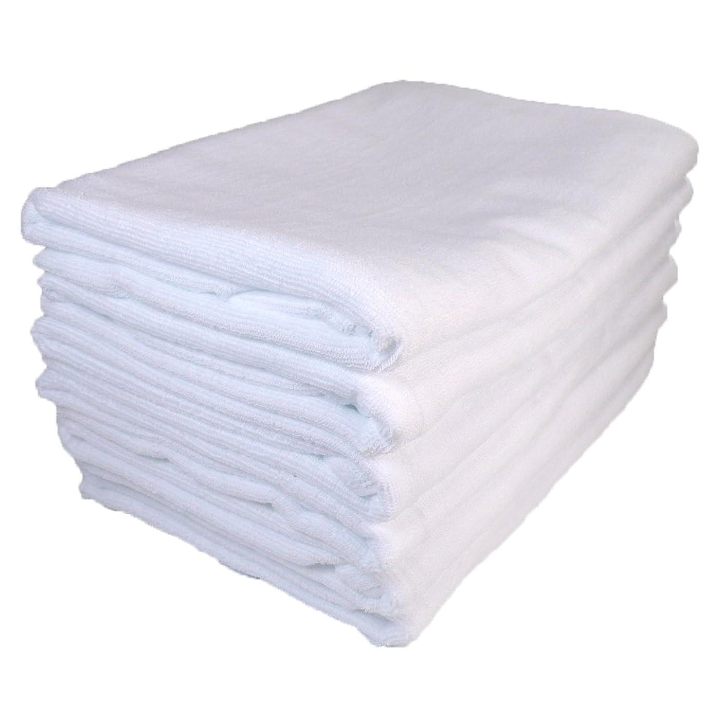 硬い呼吸曲線バスタオル 業務用 大判 1000匁 約70×140cm 綿100% レピア織 スレンカラー 耳かざりミシン(6枚販売) (ホワイト)