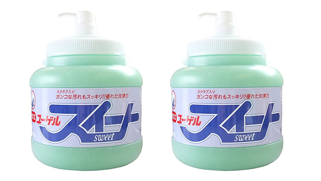 一般化する行政電化する手の汚れや臭いを水なしで素早く落とす新洗剤。スクラブでガンコな油汚れもサッと落とす!ユーゲルスイート[ポンプ式]2.5kg×2本