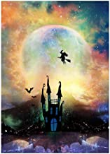 Funnytree 5x7ft Halloween Moonlight Photography Backdrop Haunted Castle Party Background Full Moon Spooky Night Witch Decorations Baby Adult Portrait Photo Studio Booth