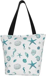 Einkaufstaschen, Korallenriff, Wassertiere, in türkisem Seestern, Segeltuch, Schultertasche, wiederverwendbar, faltbar, Reisetasche, groß und langlebig, robuste Einkaufstaschen