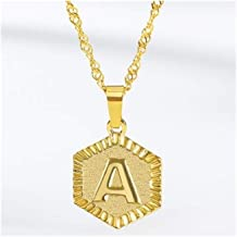 Hexagon A-Z Letter Hanger Colliers Stainless Steel Gold Long Chain Initial Alphabet Ketting (Main Stone Color : Gold, Meta...
