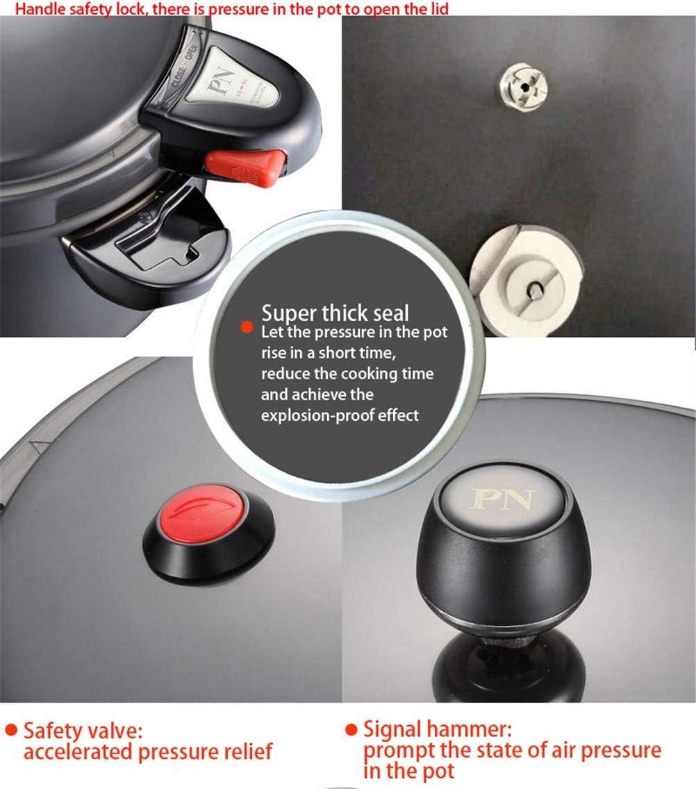 TBAO Autocuiseur Noir Perle Double Poignée En Alliage D'aluminium Pot Pot À Soupe Cuiseur À Riz Cuisinière Électrique En Céramique Cuisinière À Gaz Approprié (Color : 4.4L) 5.5l