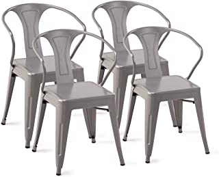 Simple 4PC Set Stackable Vintage Tolix Style Metal Dining Table Chairs Cafe Bistro Patio Bar