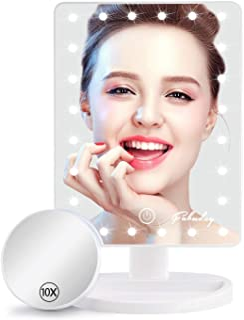 آینه آرایش با چراغ ، آینه آرایشی روشن با بزرگنمایی قابل جدا شدن 10 برابر ، صفحه لمسی و نور قابل تنظیم ، چرخش 180 درجه ، جعبه رنگی ، سفید