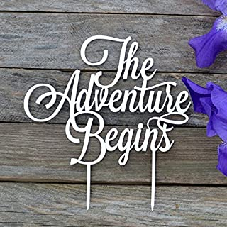 HappyPlywood The adventure begins Cake Topper Wedding Cake Decorations And so Let the Adventure Birthdays Party Supplies Anniversary Cake Toppers (width 5