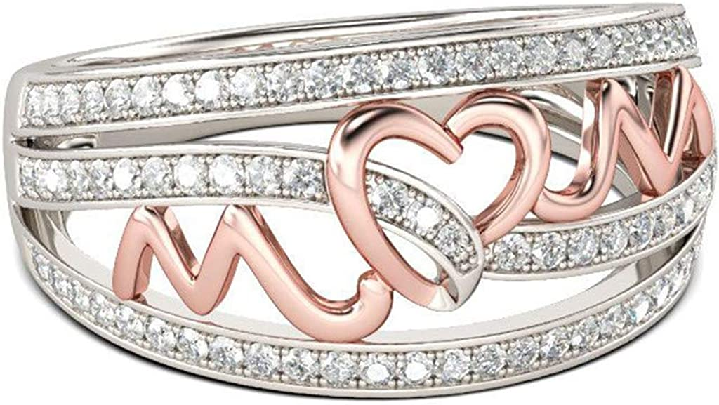 Year-end gift Quality inspection Elegant Rhinestone Heart Ring Simplicity Jewellery Accesso Alloy