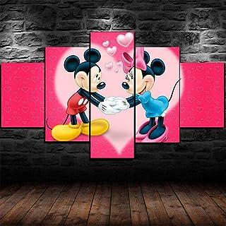 YJXL Tableau Multi Panneau 5 Parties mprimé XXL - Affiche Mignonne de Minnie et Mickey Kid - avec Cadre Posters et Arts Dé...