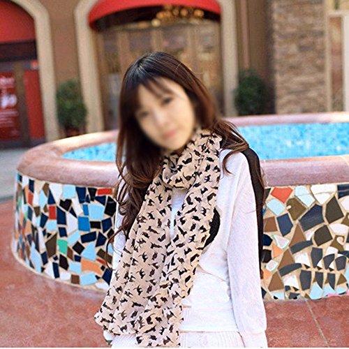 DDU Nouveau style de barbouillage écharpe en chiffon pour les femmes filles(Rose)