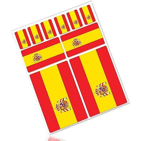 Biomar Labs 4 X Aufkleber 3d Gel Silikon Stickers Spanien Spain Spanische Flagge Fahne Flag Autoaufkleber F 21 Auto