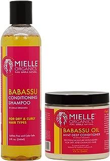 Mielle Organics Haircare Set ( Babassu Conditioning Shampoo 8 oz , Babassu Oil And Mint Deep Conditioner 8 oz )