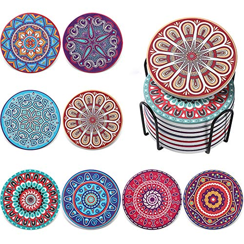 Huinsh Coaster for Drinks Absorbent Ceramic Coasters Set of 8 with Cork Base/Metal Holder for...