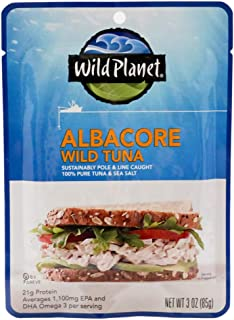 Wild Planet Albacore Wild Tuna, Sea Salt, Pouch, Keto and Paleo, 3rd Party Mercury Tested, 3 Ounce