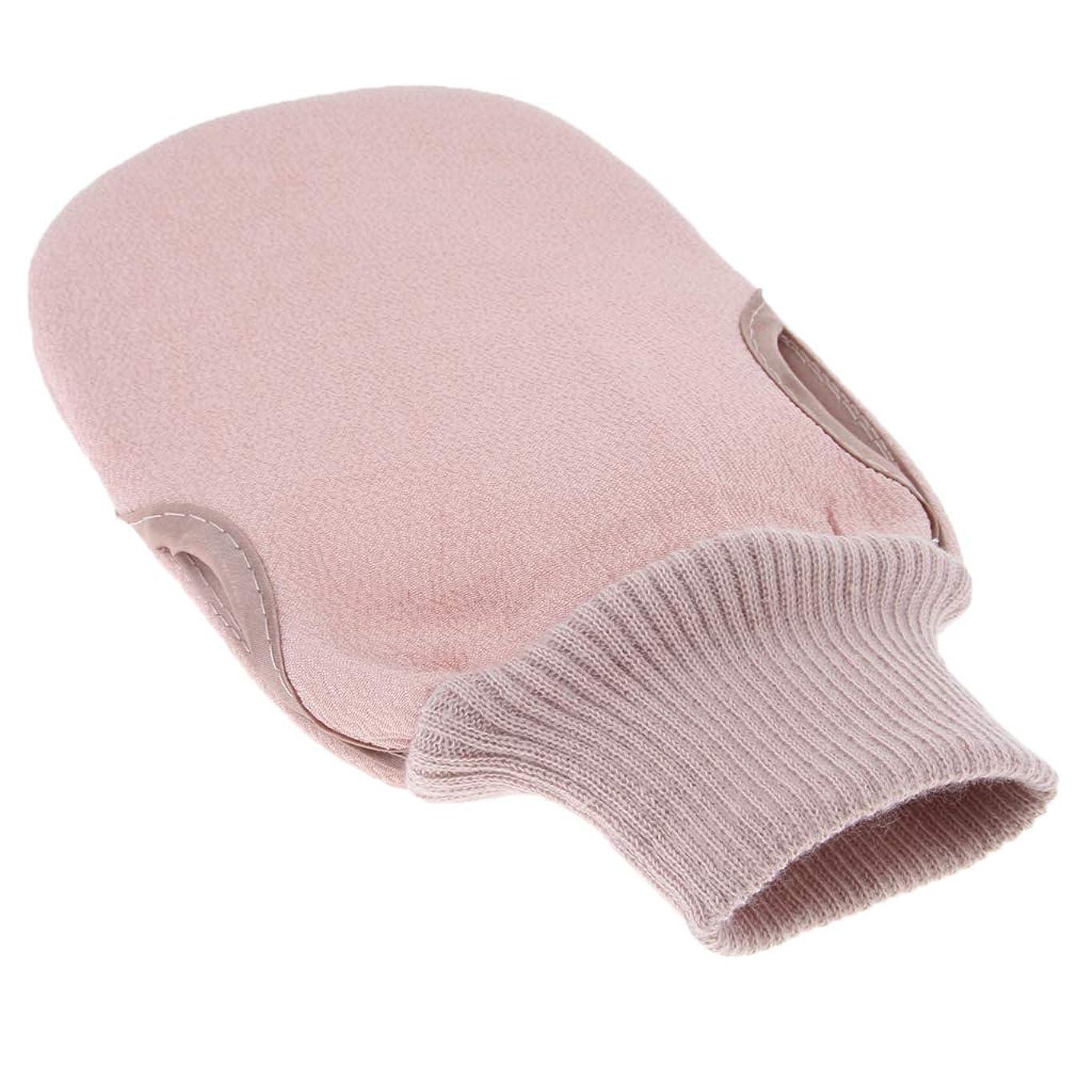 chiwanji 丈夫な女性の男性のバスローブシャワーシャワースクラバーミットディープクリーン - ピンク