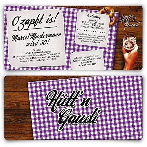 Einladungskarten zum Geburtstag (20 Stück) Hütt'n Gaudi Frühschoppen O'zapft is! Oktoberfest in Lila