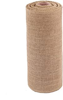 wlflash Burlap Table Runner 12 Inch by 10 Yards Natural Jute Hessian Burlap Roll Crafts Fabric Rolls with Sewn Edges for Country Rustic Party Wedding Decorations Farmhouse Kitchen Decor