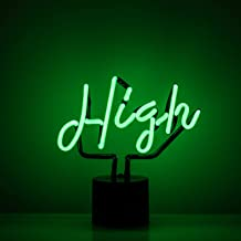 Amped & Co High Neon Desk Light, Real Neon, Green, Cursive Typography Font, 9x9 inches, Home Decor Neon Signs for Unique Rooms