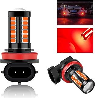 2Pcs H8 H9 H11 Car led Fog Light Bulbs 33SMD Super Bright Red for Daytime Running Lights DRL 12V