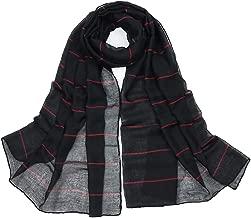 Uainhrt Women's Fashion Soft Solid Color with Cross Streak Silk Long Scarf,Lady Luxury Shawl Wrap Scarves