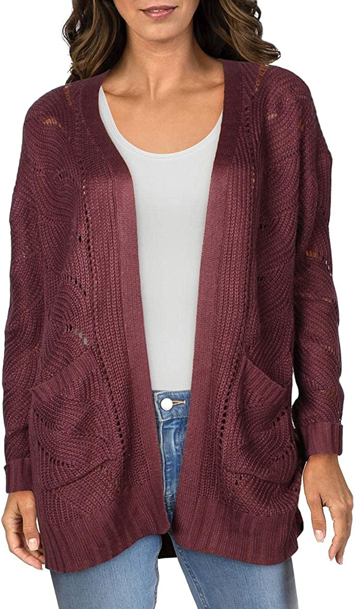 Hippie Rose Womens Cable Knit Open Front Cardigan Sweater