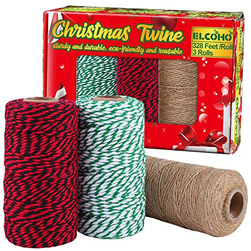Elcoho 3 Rolls Christmas Twine Natural Jute String Cotton Twine for Gift Wrapping DIY Crafts Gardening,984 Feet Totally (Green and White,Red and Black,Linen)