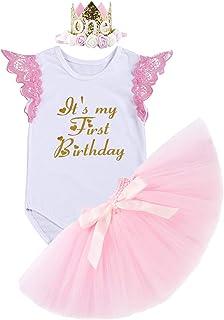 FYMNSI Baby Mädchen 1. Geburtstag Outfit Spitze Baumwolle Body Strampler Shirt  Rosa Tütü Rock  Krone Stirnband Prinzessin Partykleid Kleinkinder Es ist Mein erster Geburtstag Bekleidungsset