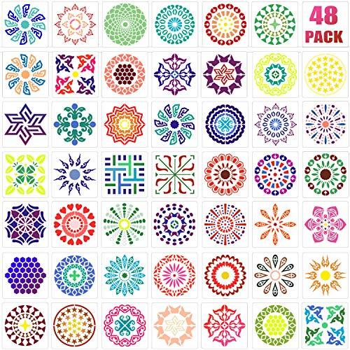 48 Packung Mandala Punkt Malvorlagen Blumen Punktierung Schablonen zum Malen auf Holz, Stoff, Glas, Metall, Wänden und Mehr DIY Malen Kunst Projekte, 3.6 x 3.6 Zoll