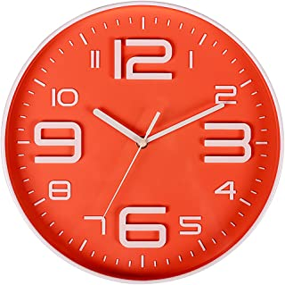 Filly Wink Modern Wall Clock Non Ticking Sweep Movement 3D Number Easy to Read Indoor Kitchen,Office 10 Inch Orange