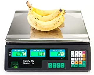 FRITHJILL Electronic Price Computing Scale,ACS-30 40kg/5g Digital Food Produce Weight Scales Counting Equipment with LCD Display