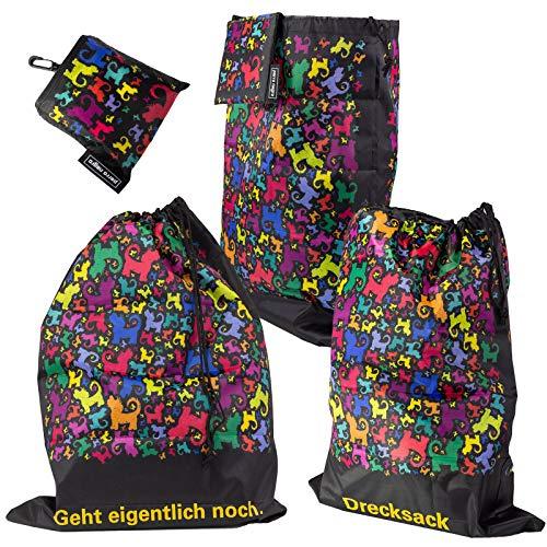 perro negro 3er-Set Wäschebeutel: Drecksack, Geht eigentlich noch, neutral (ohne Text) / Wäschesack/Turnbeutel/Schuhsack/Schuhbeutel