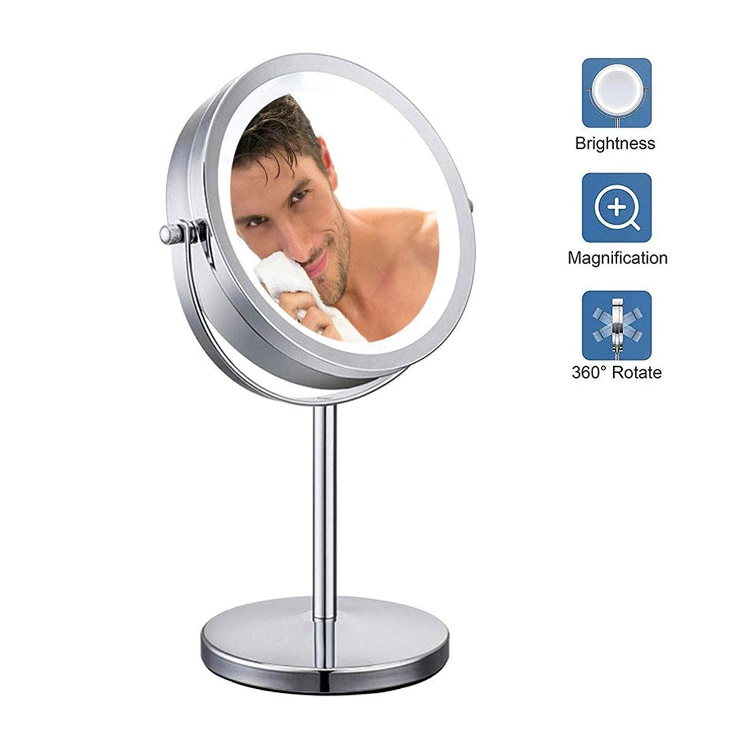 損なうトライアスロン暗くする7インチ照明付き化粧鏡、10X拡大鏡、LEDライト付き、電池式化粧鏡、シェービングバスルームミラー