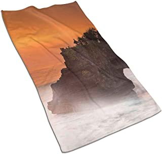 GULTMEE Building Pura Tanah Lot Bali Indonesia Magical Romantic Sunset Exotic Holidays,Large Hand Towel- Multipurpose Bathroom Towels for Hand, Face, Gym and Spa, 27.5 Inch X 12 Inch