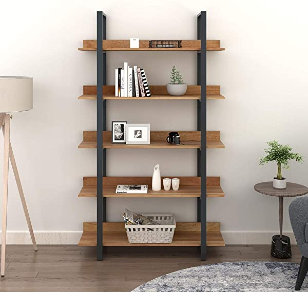 WLIVE 5 Tier Bookcase Vintage Industrial Bookshelf Wood And Metal Book Shelf Furniture Organizer For Home And Office Walnut