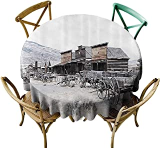 Mannwarehouse Western Decor Easy Care Tablecloth Old Wooden Wagons from 20s in Ghost Town Antique Wyoming Wheels Art Print Easy Care D71 Brown White