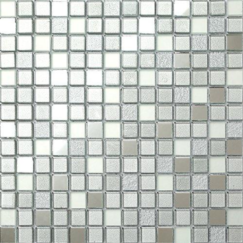 Piastrelle in vetro mosaicato da 30 cm x 30 cm, color argento opaco, specchio e glitter (MT0046)