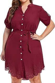 DongDong Button Work Shirt Dress,Women Short Sleeve Floral Lace Chiffon Office Plus Size Short Mini Dress