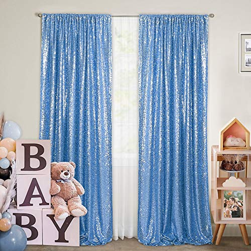 Baby Blue Sequin Photography Backdrop Curtains 2 Panels 2FTx8FT Wedding Photo Backdrop Glitter Birthday Bridal Party Curtains Sparkle Background Drapes