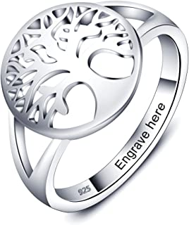 Personalized Family Tree of Life Rings for Women Engraved Rings for Grandmother Mothers Ring with Names