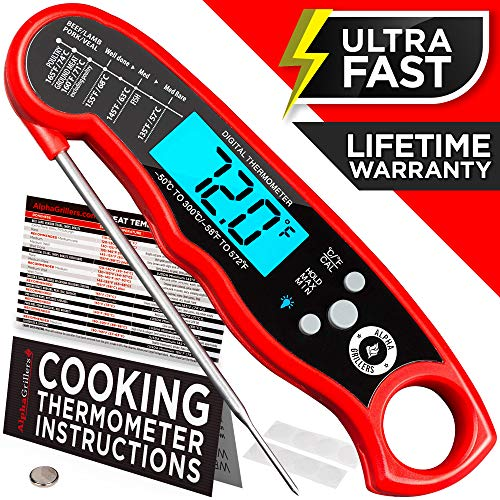 Alpha Grillers Instant Read Meat Thermometer for Grill and Cooking. Upgraded