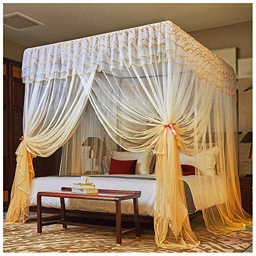 Why Choose GXFC 4 Corners Post Princess Bed Curtain, Stainless Steel Mosquito Netting, 3 Entries, El...