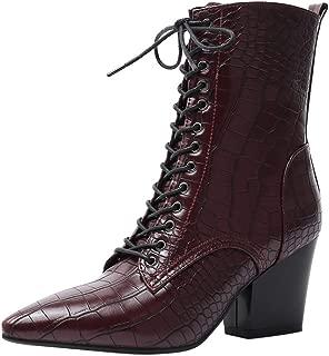 ELEEMEE Women Block Heel Autumn Dress Boots Zip
