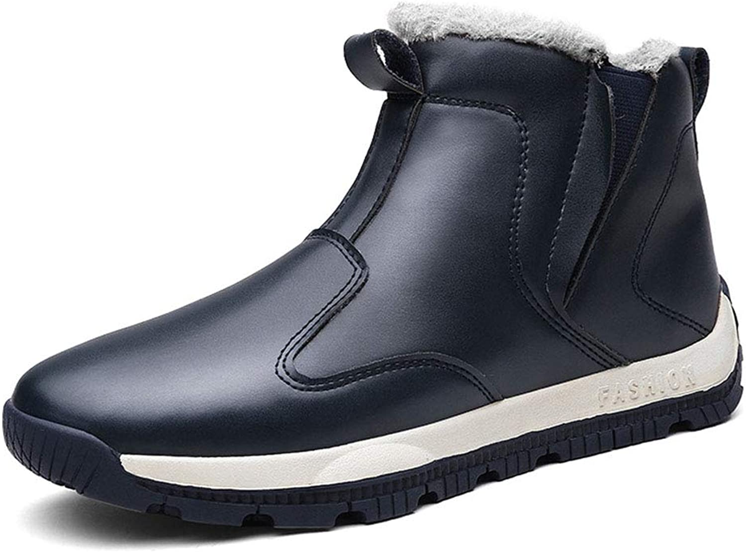 Men's shoes Plus Velvet Fashion Casual Snow Boots Fall Winter High-top Running shoes Martin Boots (color   A, Size   46)