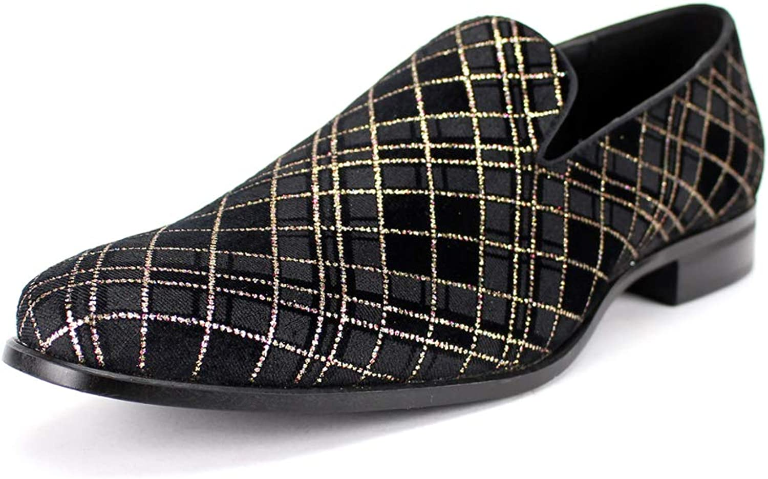 AFTER MIDNIGHT 8102 Smoking Slipper Mens Plaid Fabric Loafer