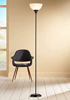 Bailey Modern Torchiere Floor Lamp Tall Black Thin Profile White Shade for Living Room Bedroom Office