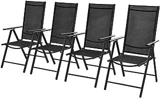 Set of 4 Patio Folding Garden Chairs Adjustable Reclining Aluminium and Textilene Black, Indoor Outdoor Garden Pool