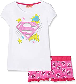 Pijama corto para niña, color blanco y rosa de 8 a 12 años