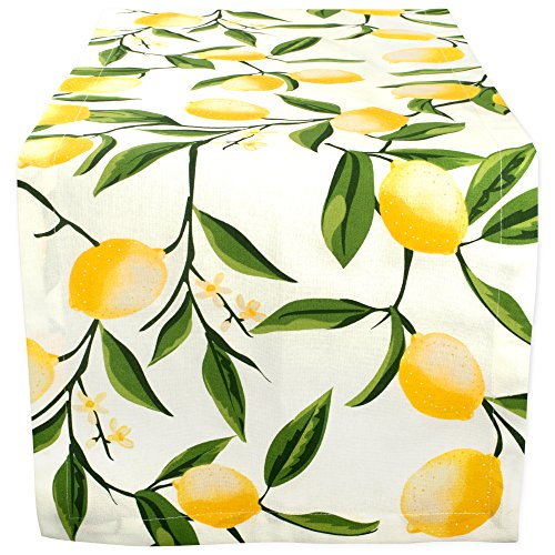 DII Cotton Table Runner for Dinner Parties Spring Wedding & Everyday Use, 14x72', Lemon Bliss