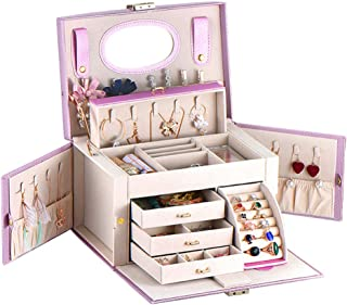 Solustre Women Jewelry Box Multi-layer Jewelry Storage Rack Organizer Earrings Necklace Holder Cosmetic Storage Box for Office Home