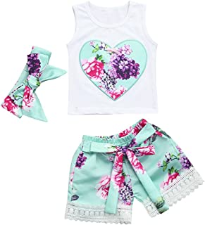 Baby Girls Outfits, Infant Girls Heart Shape Print Tank Tops +Floral Shorts +Headband 3Pcs Summer Clothes Set