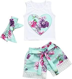 Baby Girls Outfits, Infant Girls Heart Shape Print Tank Tops +Floral Shorts +Headband 3Pcs Summer Clothes Set