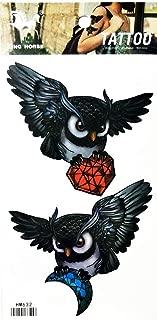 PP TATTOO 1 Sheet Fashionable Beautiful Fantasy Diamond owl Cartoon Temporary Tattoos Sticker for Women Men Fashion Design Body Art Adults Waterproof Chest Shoulder Arm Hand Realistic Fake Tatoo